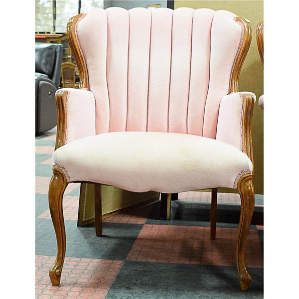 DUSTY ROSE LOW BACK WING CHAIR