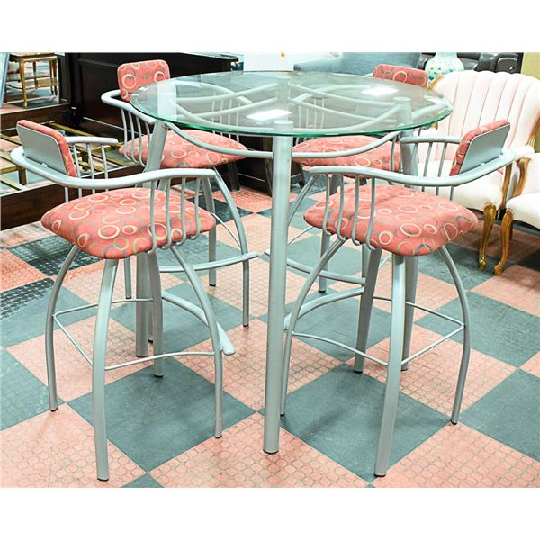 GLASS BAR HEIGHT TABLE WITH 4 SWIVEL CHAIRS