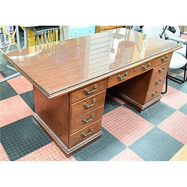 VINTAGE WOOD DESK WITH GLASS TOP