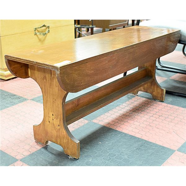 """WOODEN BENCH APPROX H-17"""" W-12"""" L-42"""""""
