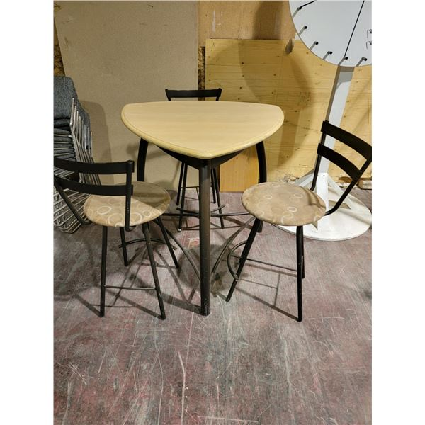 BAR HEIGHT TABLE WITH 3 STOOLS