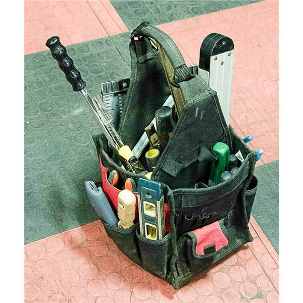 JOBMATE TOOL BAG W/ C-CLAMPS AND VARIOUS TOOLS