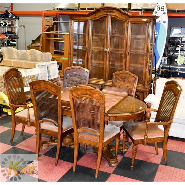WOOD DINING HUTCH WITH TABLE & 6 CHAIRS, INCLUDES