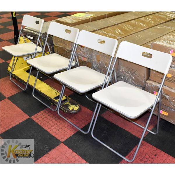 LOT OF 4 SOLID FOLDING CHAIRS