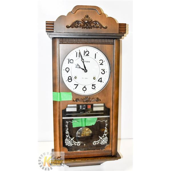 CITIZEN WOODEN WALL CLOCK WITH KEYS