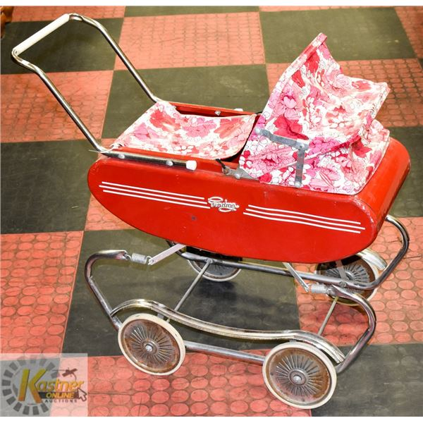 VINTAGE METAL DOLL CARRIAGE - PINK, RED, WHITE
