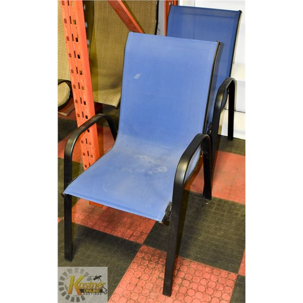 PAIR OF BLUE & BLACK PATIO CHAIRS