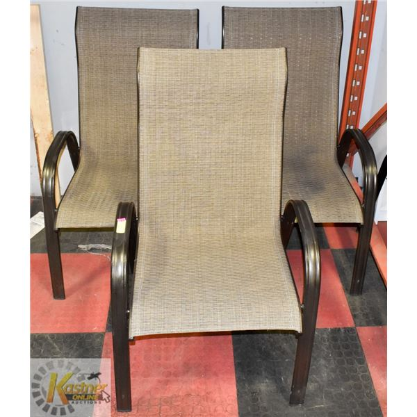 SET OF 3 METAL & FABRIC PATIO CHAIRS