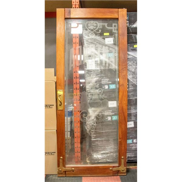 """VINTAGE WOODEN + ETCHED GLASS DOOR APPROX W-35.5"""""""