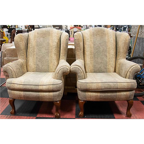 """SET OF 2 WINGBACK CHAIRS - 34"""" WIDE X 42"""" TALL"""