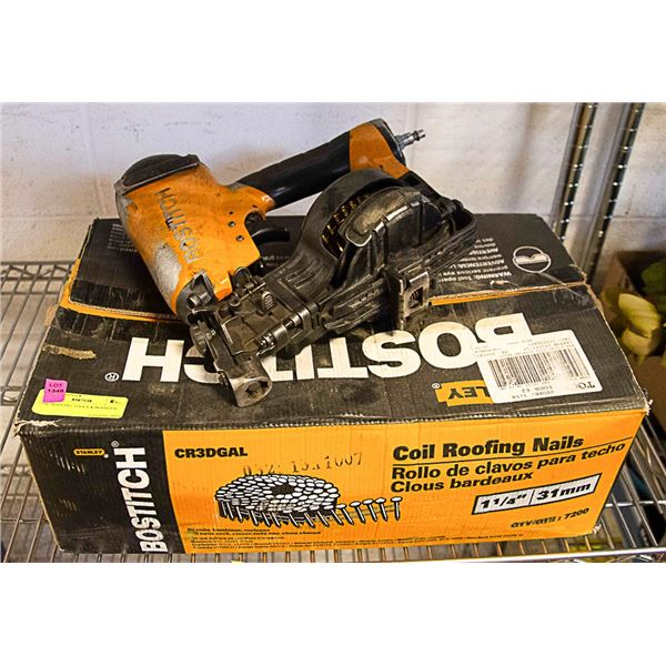 BOSTITCH ROOFING NAIL GUN & COIL OF NAILS