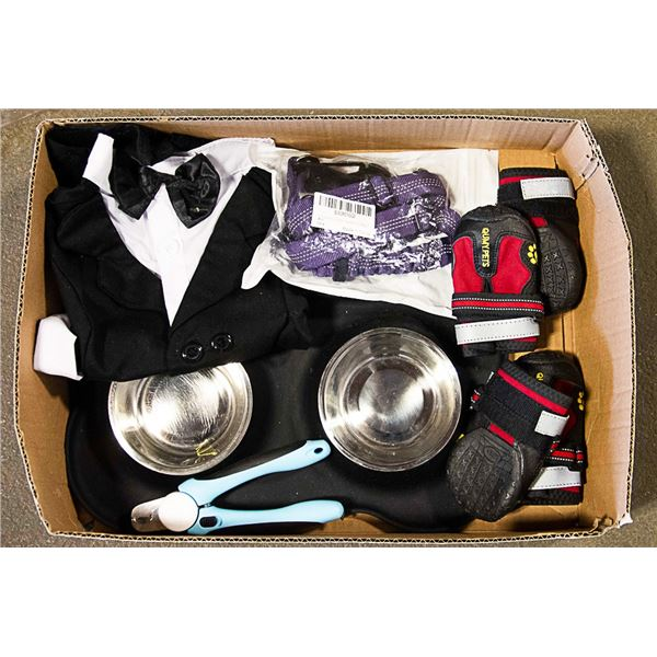 LOT OF NEW DOG SUPPLIES - CLIPPERS, SEATBELT, BOWL