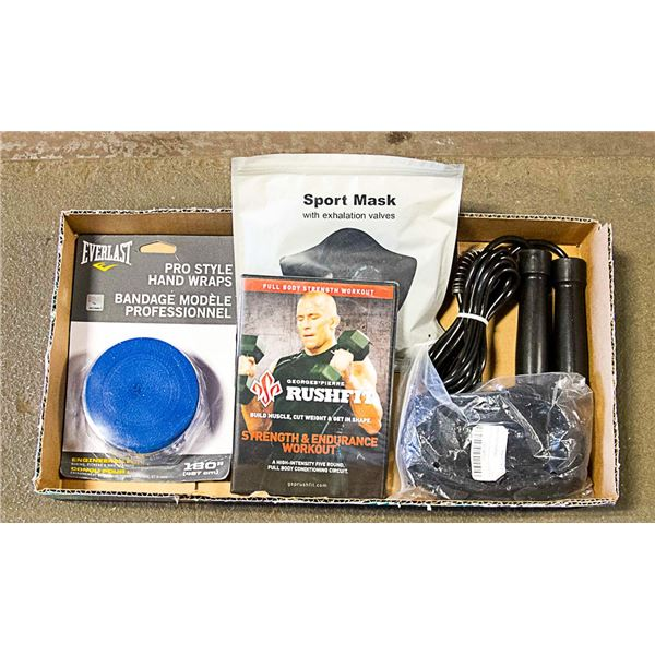 LOT OF NEW WORKOUT GEAR -GSP DVD, MASK, HAND WRAP