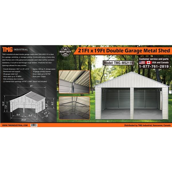 METAL SHED DOUBLE GARAGE