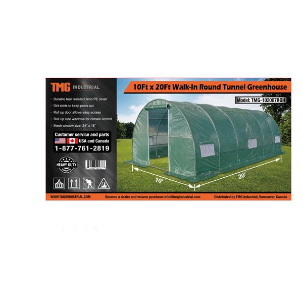 GREENHOUSE 10FT X 20FT ROUND GREEN