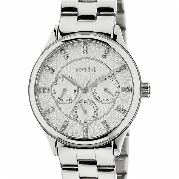 NEW FOSSIL 36MM TRIPLE DIAL SILVER-TONE MSRP $179