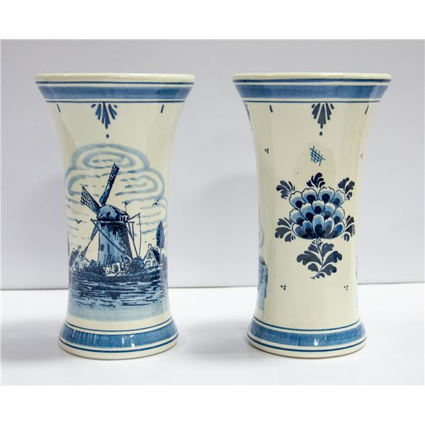 PAIR OF BLUE DELFT HAND PAINTED VASES-HOLLAND-8