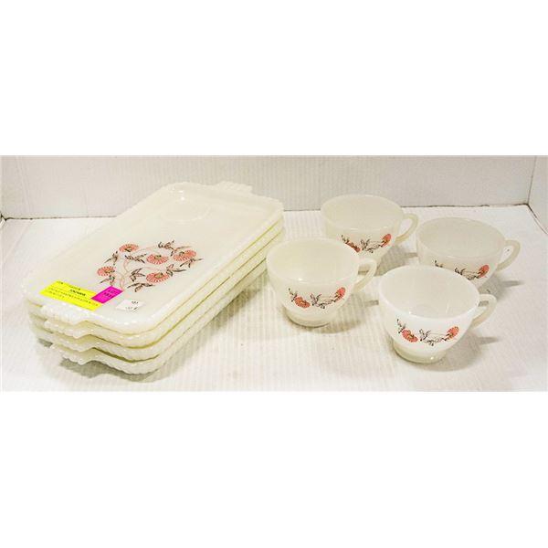 VINTAGE SANDWICH PLATES W/TEA CUPS-SET OF 4