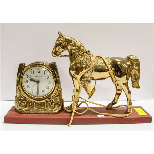 """BRASS COLOURED ELECTRIC CLOCK W/HORSE-11"""" TALL"""