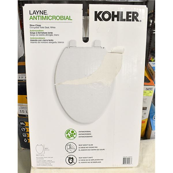 NEW KOHLER SLOW CLOSING ELONGATED TOILET SEAT