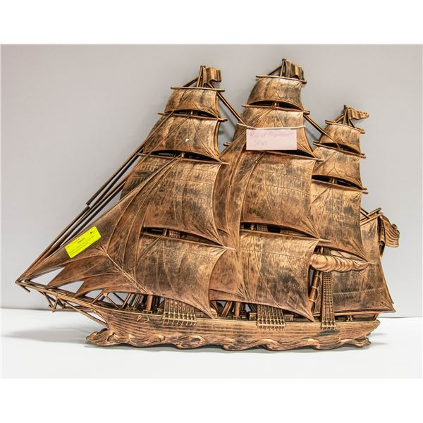 PAIR OF COPPER CRAFT SAILING SHIPS HANGING DECOR