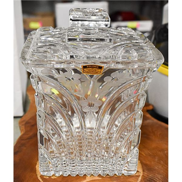 BISCUIT BARREL HAND CUT 24% LEAD CRYSTAL ICE