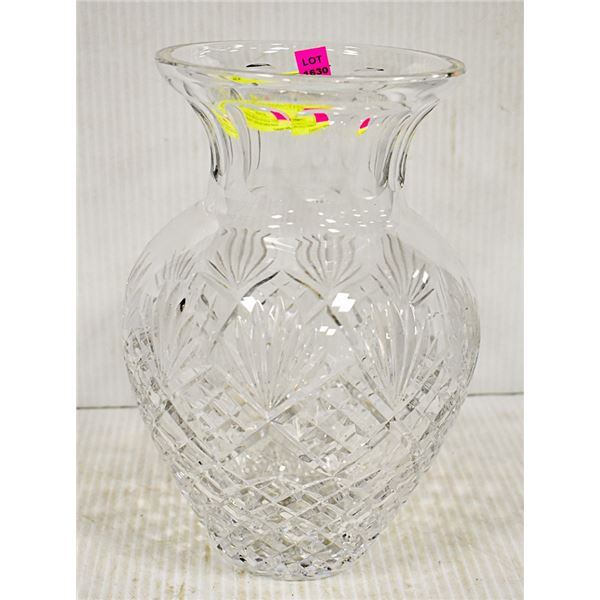 LARGE SOLID CRYSTAL VASE, HEAVY AND IN GOOD SHAPE