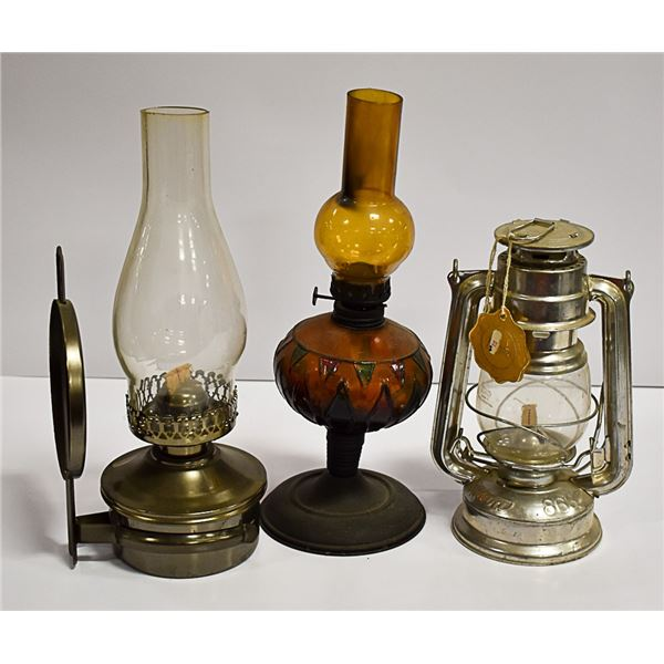 LOT OF 3 VINTAGE OIL LAMPS - MEVA W/ TAG