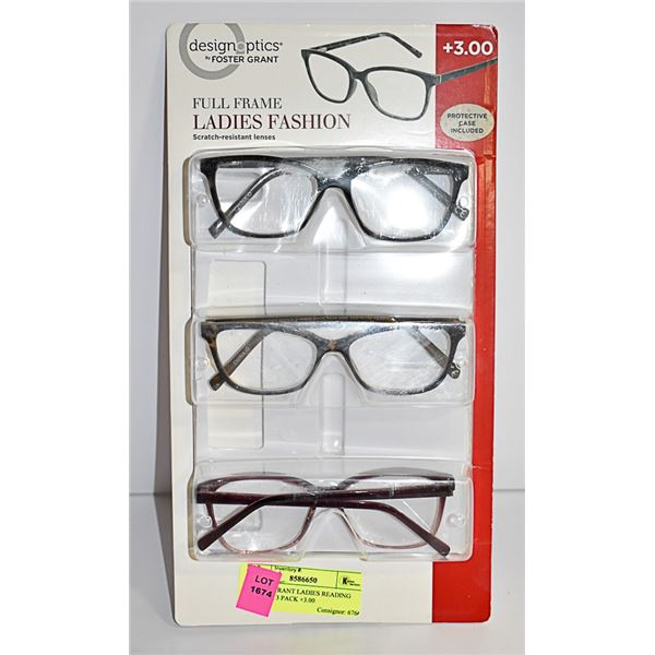 FOSTER GRANT LADIES READING GLASSES 3 PACK +3.00