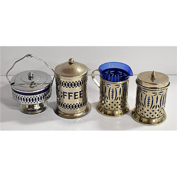 4 PIECE BLUE GLASS WITH SILVERTONE HOLDERS SET