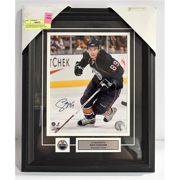 AUTOGRAPHED OILERS SAM GAGNER FRAMED W/ INSET PIN