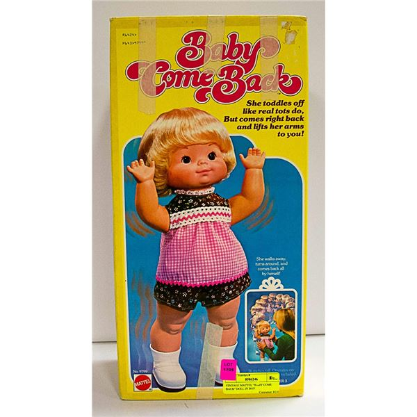 """VINTAGE MATTEL """"BABY COME BACK"""" DOLL IN BOX"""
