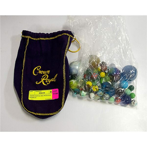 CROWN ROYAL BAG WITH OLD MARBLES