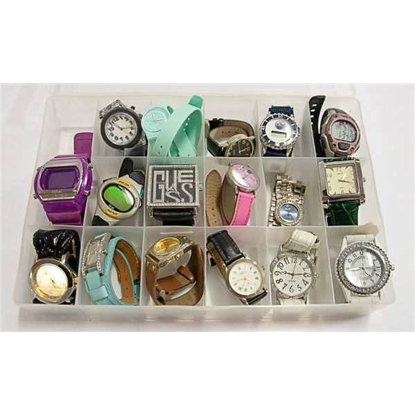 17 WATCHES IN CASE INCLUDES GUESS, SWATCH & MORE