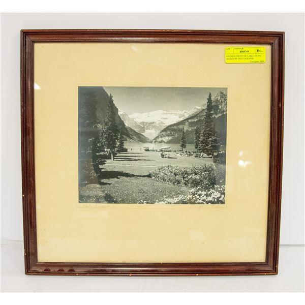 ANTIQUE PHOTO OF LAKE LOUISE SIGNED BY PHOTOGRAPHE