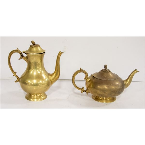 VINTAGE COFFEE AND TEA CARAFES HEAVY SOLID BRASS