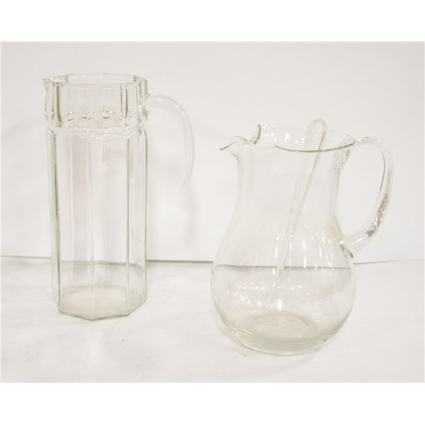 """2 GLASS PITCHERS AND 9"""" GLASS BOWL"""