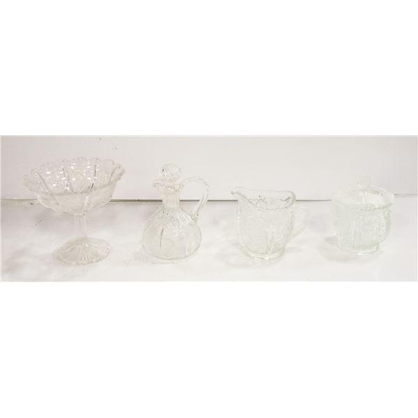 PRESSED GLASS THYSTLE DESIGN BUMBLE BEE CREAM + SU