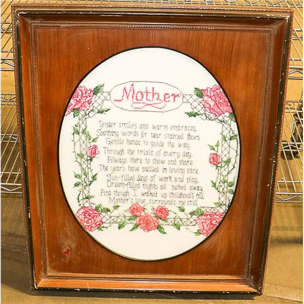 """""""MOTHER"""" FRAMED NEEDLE POINT"""