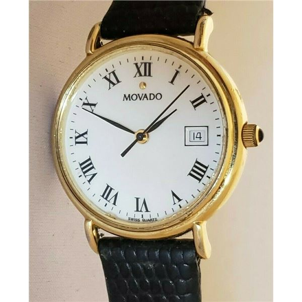SWISS MOVADO 27MM WHITE DIAL ROMAN NUMERALS WATCH
