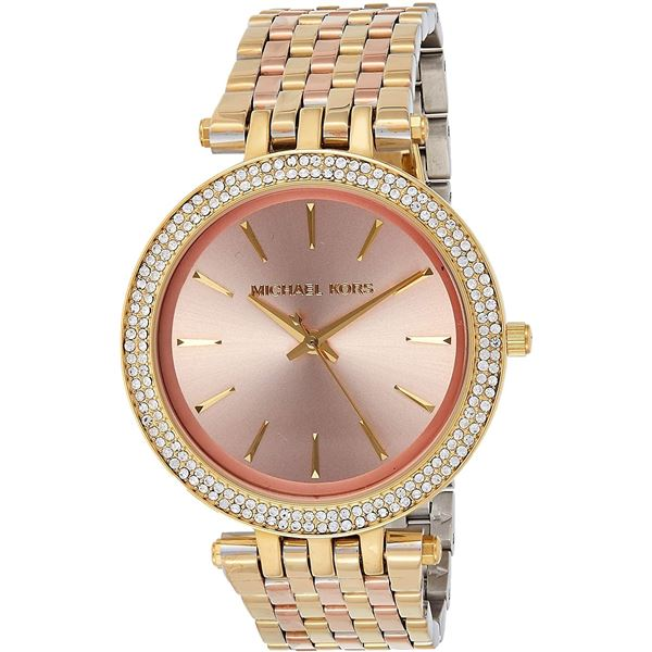 NEW MICHAEL KORS 39MM CHAMPAGNE DIAL CRYSTALS $340