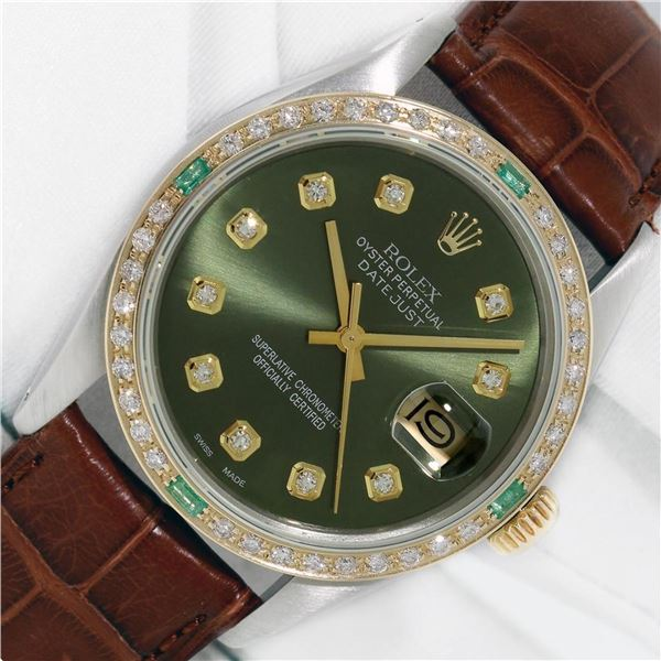 Rolex Datejust Mens 36 Olive Green Diamond Bezel 18K/SS Oyster Perpetual With Le