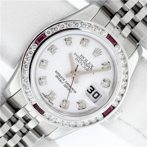 Rolex Ladies Stainless Steel White Diamond & Ruby Datejust Wristwatch With Box