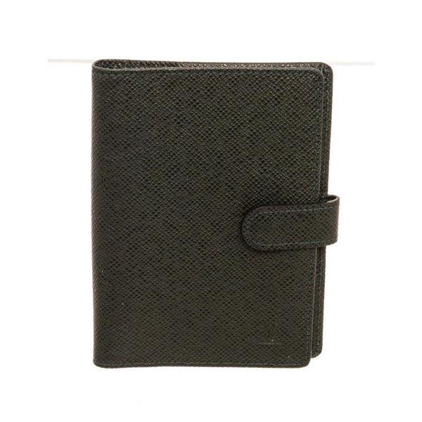 Louis Vuitton Black Leather Canvas Agenda PM Wallet