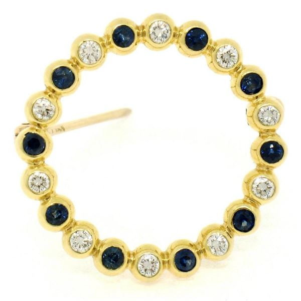 18k Yellow Gold .70 ctw Bezel Round Sapphire & Diamond Circle of Life Pin Brooch
