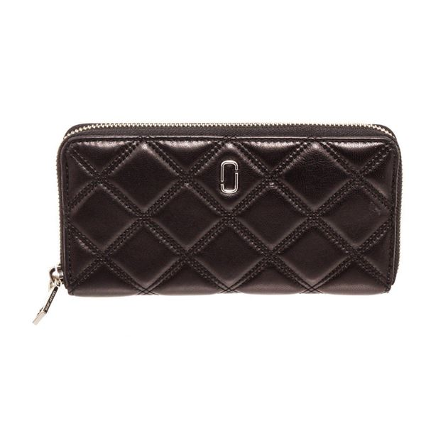 Marc Jacobs Black Quilted Leather Long Zippy Wallet