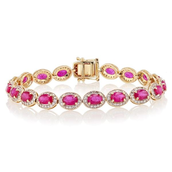 9.19 ctw Ruby and 1.64 ctw Diamond 14K Yellow Gold Bracelet