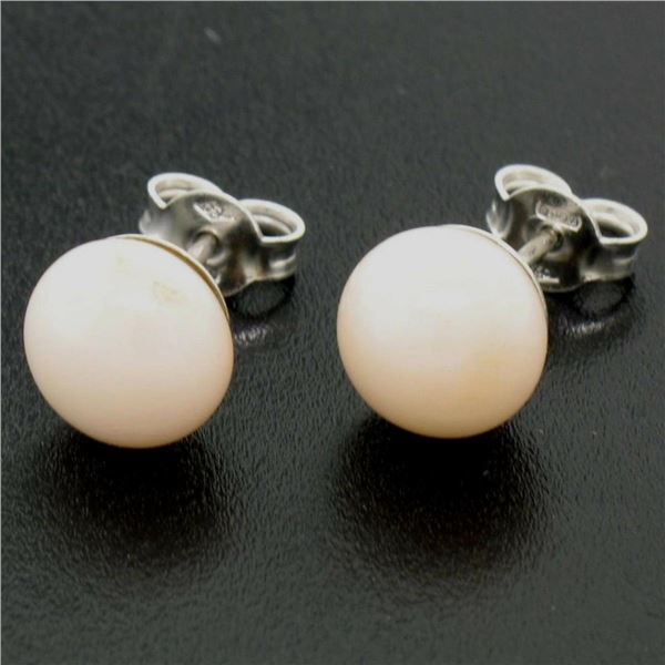 18k Solid White Gold 8.6mm Angel Coral Simple Classic Round Button Stud Earrings