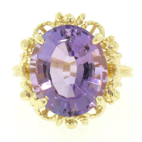 14k Solid Yellow Gold Rope Frame Large 6.71 ctw Oval Step Amethyst Solitaire Rin