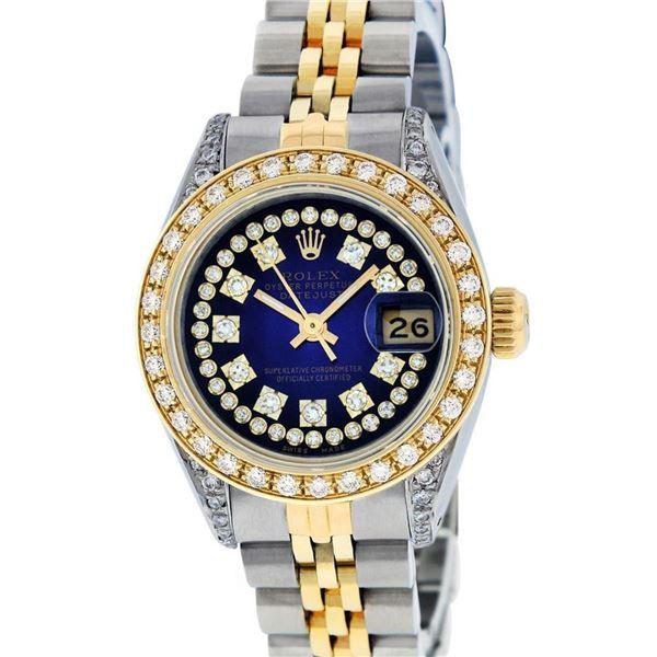 Rolex Ladies 2 Tone Blue Vignette Diamond Lugs 26MM Datejust Oyster Perpetual Wr